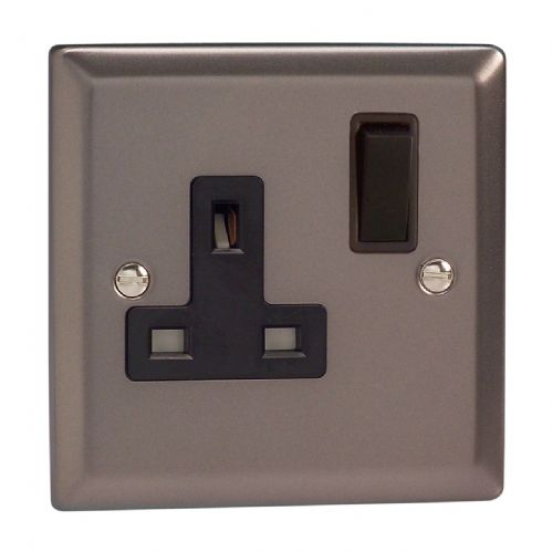 Varilight XR4B Classic Pewter 1 Gang 13A DP Single Switched Plug Socket